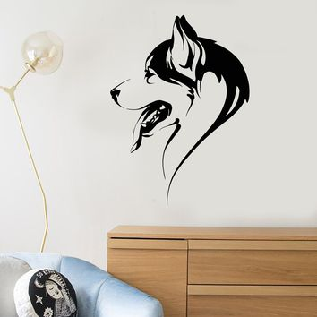 Vinyl Wall Decal Abstract Dog Head Of Husky Animal Pet Stickers (2795ig)