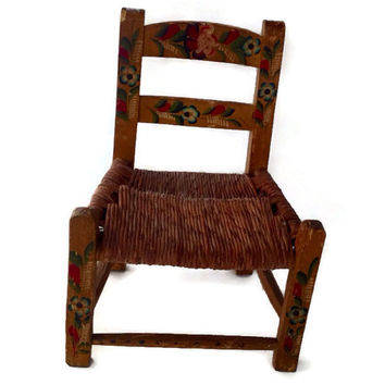 Vintage Child's Chair, Hand Painted Wood with Woven Rattan Seat, Cottage Chic Decor, Folk Style, Yellow Painted Wood with Colorful Flowers,