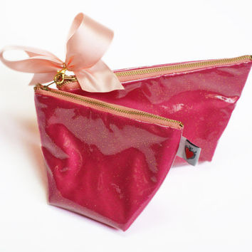 Glitter Cosmetic Bag Set in Gold and Pink FINAL SALE