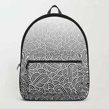 Ombre black and white swirls doodles Backpack by Savousepate
