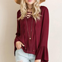 Saved By The Bell Sleeve Crinkle Top - Wine