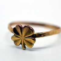 Gold Clover Ring, Hammered Gold Fill Ring, Handforged, Unisex Ring
