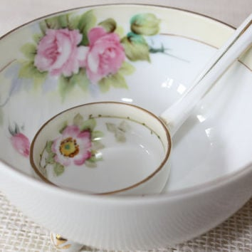 Nippon Serving Bowl and Ladle Set / Hand Painted Porcelain