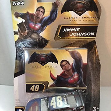 2016 Nascar Authentics 1:64 - Batman vs Superman: Dawn of Justice Jimmie Johnson #48 Superman Edition #1 of 2 1/64 Scale Diecast NASCAR Authentics With One in a Series of Two Collector Card