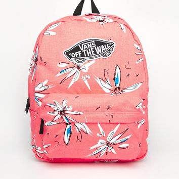 Vans Realm Backpack in Coral Floral Print