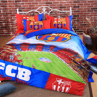 2016 Famous European Soccer Team Barcelona Bedding Set 3/4pcs Bed Linen Cotton Duvet Cover Bed Sheet Pillow Case Twin Queen Size