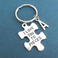 Personalized, Letter, Initial, Puzzle, I Love You To Pieces, keyring, key chain, Gift, Jewelry, Accessories