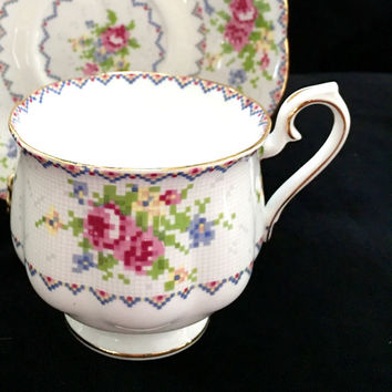 Royal Albert Petit Point Teacup,Vintage 1950's Teacup and Saucer,Antique Tea Cup and Saucer