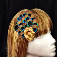 Peacock feather and victorian lady hair fascinator clip
