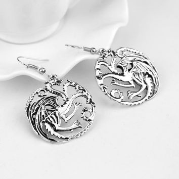 New Earring Game of Thrones Song of Ice and Fire Round Dragon Pendants Ear Ring Accessories for Women Female