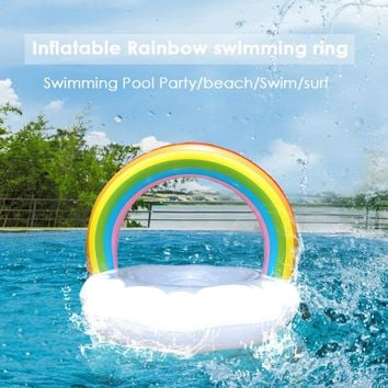 Rainbow Giant Inflatable Swimming Ring Adult Kids Water Mattress Swim Pool Floats Toys Holiday Party Toys Piscina