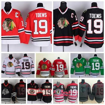 Chicago Blackhawks Jonathan Toews Jerseys Home Red Men #19 Jonathan Toews Hockey Jersey Winter Classic Throwback Black 75th Stitched C Patch