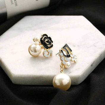 Pearl Number 5 Long Dangle Chain Famous Brand Designer Luxury Jewelry Brincos Orecchini Earrings For Women