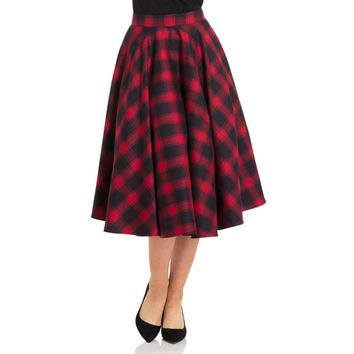 May Red Plaid Circle Skirt
