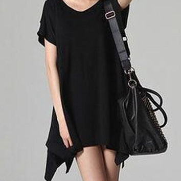 Black Short Sleeve Cut Out Dress