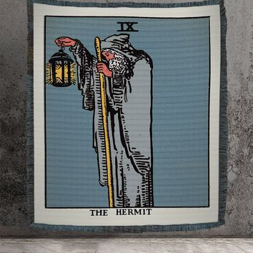 Large Woven Tapestry - The Hermit Tarot Card Tapestry - Rider Waite Deck - Cotton