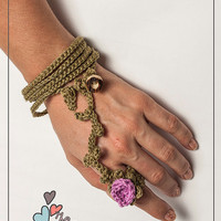 Crochet handmade rose ring and bracelet chain two in one