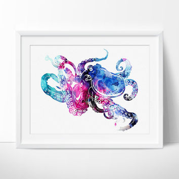 Octopus Art, Octopus Wall Art, Octopus Print, Octopus Painting, Watercolor Art, Wall Art Decor - 86