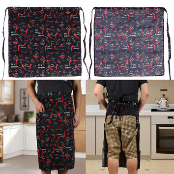 Universal Unisex Adjustable  67 * 63 cm Stripe Half Apron With 2 Pockets Chef Waiter Kitchen Cook  for Men Women