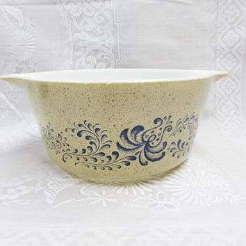 Vintage Pyrex Homestead Casserole Dish | Pyrex Homestead 474B Tan Speckle Blue Scroll Serving Dish