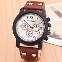Cool Mens Rivet Black Leather Strap Watch Retro Casual Mountaineering Racing Sports Watches + Beautiful Gift