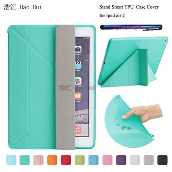 Smart Flip Case For iPad 6 PU Leather Stand Cover For Apple iPad Air 2 Silicon Soft TPU Case Auto Wake Up / Sleep + one stylus