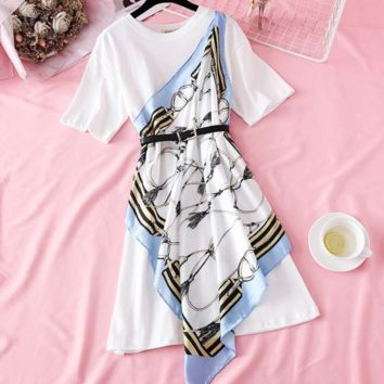 Summer new women's temperament patchwork print scarf waist-tight loose T-shirt dress