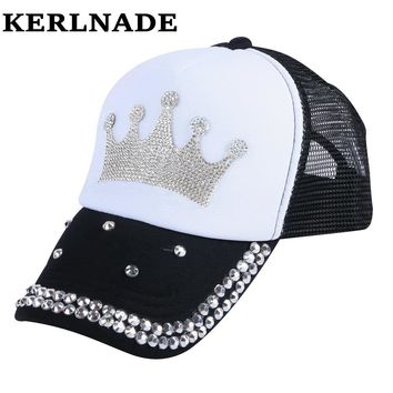Children Crown Baseball Cap with clear Crystal Pattern Luxury Mesh snapback 3 to 12 year old girl boy sports strapback hats
