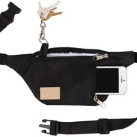 Black Travel Fanny Pack w/ Phone Pocket and Key Ring