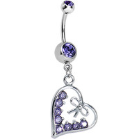 Tanzanite Purple Gem Dainty Bow in CZ Heart Dangle Belly Ring | Body Candy Body Jewelry