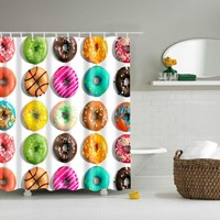 Colorful Donuts Bathroom Shower Curtain