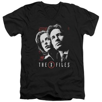 X Files - Mulder & Scully Short Sleeve Adult V Neck Shirt Officially Licensed T-Shirt