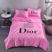 Comfortable Soft DIOR Bedding Blanket Quilt Coverlet Pillow Shams 4 PC Bedding Sets Home Decor