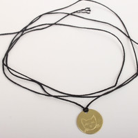 catbird brass disc necklace/bracelet-cat stamp