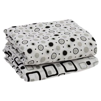 Black and Gray Muslin Blankets