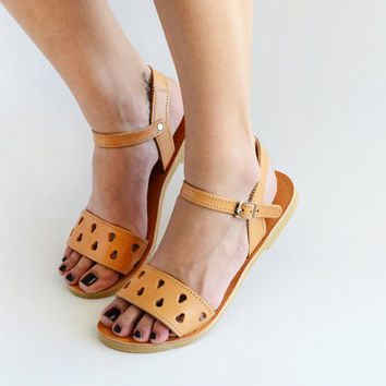 Sandals, Leather sandals, Minimal and Chic handmade greek sandals, Ankle strap women flats