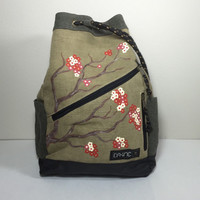 Dakine Cedar Backpack in Khaki with Hand Painted Cherry Blossoms