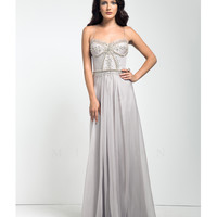 Mignon VM1376C Dove Grey Grecian Embellished Dress Prom 2015