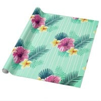 Cool blue base with pink floral texture wrapping paper