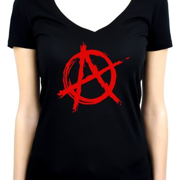 Red Anarchy Punk Rock Women's V-Neck Shirt Top Gothic Clothing