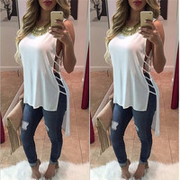 Scoop Sleeveless Irregular Chiffon Bandage Blouse