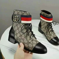 Gucci Trending Women Black Leather Side Zip Lace-up Ankle Boots Shoes High Boots