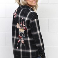 Embroidery Babe Plaid Flannel {Black Mix}