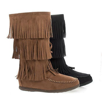 Import Chestnut By Soda, Round Toe Mid Calf Layered Fringe Moccasin Flat Boots