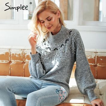 Comfy Lantern Sleeve Bedazzled Sweater