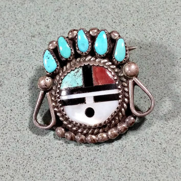 Vintage Zuni Sunface Sun God Pin Southwest Style Native American Made Headress Collar Design Petite Sterling Silver Multi Stone Inlaid
