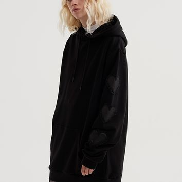 Lazy Oaf Black Like Your Heart Hoodie - Everything - Categories - Womens