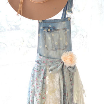 Romantic Shabby cottage chic festival bibs, denim on denim, Boho lace tunic dress, Bohemian clothing, Bib overalls, True rebel clothing
