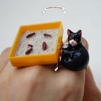 Yellow Cat Litter Box Ring funny quirky jewelry by supershygirl