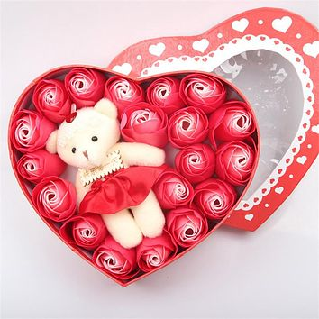 Artificial Flower 18pcs / set Bear Rose Heart Gift Box Romantic Valentine's Day or Wedding Gifts